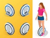 En-rullat Själv-balansera isometriska illustrationer för elektrisk sparkcykelvektor Personliga intelligent och innegrej Royaltyfri Foto