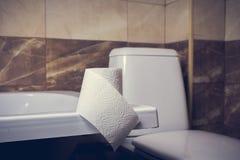 En rulle av toalettpapper på bakgrunden av toaletten På kanten av badet Tegelplattorna och toaletten i bakgrundssuddigheten Arkivfoton