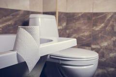 En rulle av toalettpapper på bakgrunden av toaletten På kanten av badet Tegelplattorna och toaletten i bakgrundssuddigheten Royaltyfri Fotografi