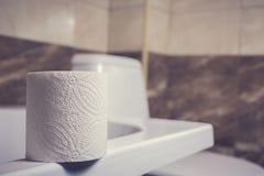 En rulle av toalettpapper på bakgrunden av toaletten På kanten av badet Tegelplattorna och toaletten i bakgrundssuddigheten Royaltyfria Bilder