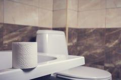 En rulle av toalettpapper på bakgrunden av toaletten På kanten av badet Tegelplattorna och toaletten i bakgrundssuddigheten Arkivbild