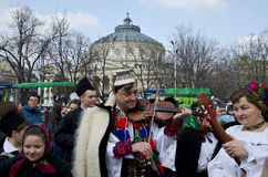 Rumänsk musiker som leker på fiolen Royaltyfria Bilder