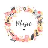 En rund collage med musikinstrument vektor illustrationer