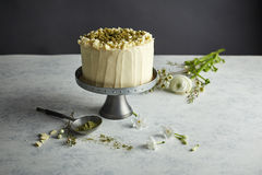 En rund kaka på cakestanden Arkivfoton