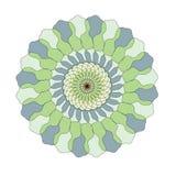 En rund modell i guling-, gräsplan- och blåttfärger arkivbild