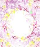 En rund vattenf?rgram, en vykort, en krans av blommor, ris, v?xter, b?r tappning f?r gullig illustration f?r f?glar set Bruk i ol royaltyfri illustrationer