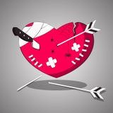 En sårad torterad hjärta med snitt och sår också vektor för coreldrawillustration stock illustrationer