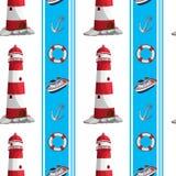 En sömlös design med fyrar och annan saker på seapoen vektor illustrationer