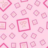 En sömlös modell av två rosa hjärtor i en fyrkant, med guld- band På en rosa bakgrund också i vektor Arkivfoto