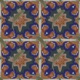 En sömlös modell, i den marockanska designen som göras av marockanska tegelplattor, med en salamander Arkivbild
