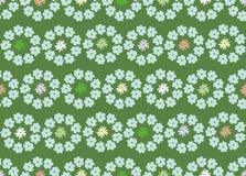 En sömlös vektormodell med cirklar av vårblommor på en grön bakgrund stock illustrationer