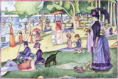 En söndag på La stora Jatte 1884 av Georges Seurat royaltyfri illustrationer