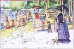 En söndag på La stora Jatte 1884 av Georges Seurat den vuxna färga sidan royaltyfri illustrationer