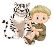 En Safari Boy och en tiger stock illustrationer