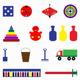 En samling av barns illustrationen för vektor för leksaksymboler Arkivbilder
