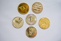 En samling av cryptocurrencymynt royaltyfri foto