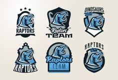 En samling av emblem, klistermärkear, emblem, logoer av dinosauriehuvudet Rovdjurs- Jurassic farligt fä som är slocknat royaltyfri illustrationer
