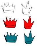 En samling av fen krönar royaltyfri illustrationer