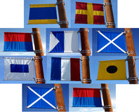 En samling av flaggor för nautisk signal Royaltyfri Fotografi