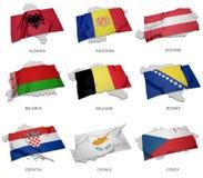 En samling av flaggorna som täcker motsvara, formar från några europeiska tillstånd stock illustrationer