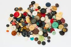En samling av gamla knappar, Arkivfoto