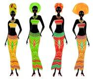 En samling av h?rliga afrikansk amerikandamer Flickor har ljus kl?der, en turban p? deras huvud Kvinnor ?r unga och slanka royaltyfri illustrationer