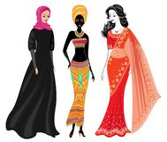 En samling av h?rliga damer Ett muslimskt, en afrikansk amerikanflicka och en indisk kvinna Nationell kl?der st?ll in vektorn vektor illustrationer