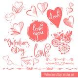 En samling av hand-dragit skissar för valentins dag Härlig hjärta Royaltyfri Foto