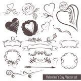 En samling av hand-dragit skissar för valentins dag Härlig hjärta Arkivfoto