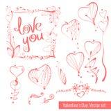 En samling av hand-dragit skissar för valentins dag Härlig hjärta Arkivbild