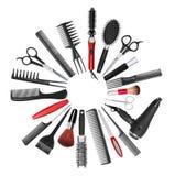 En samling av hjälpmedel för yrkesmässig hårstylist och makeup a Royaltyfri Bild