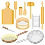 En samling av köksgeråd En trämortel och mortelstöt, ett bräde, en hammare för kött, en skopa, en kavel, en sikt, en drillborr royaltyfri illustrationer