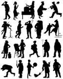 En samling av konturer av folk från olika yrken Royaltyfria Foton