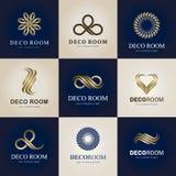 En samling av logoer för inre, dekorobjekt och hem- garnering vektor stock illustrationer