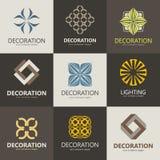 En samling av logoer för inre, möblemang shoppar, företag gör möblemang, dekorobjekt och hem- garnering royaltyfri illustrationer