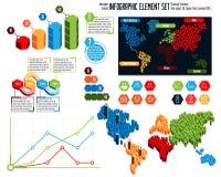 En samling av mång--färg infographic beståndsdelar arkivfoton