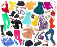 En samling av många olika stilar av kläder arkivfoton