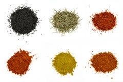En samling av olika kryddor på vit bakgrund royaltyfria foton