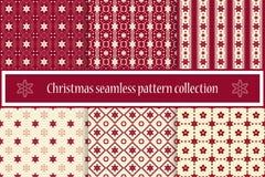En samling av sömlösa jultexturer För ett festligt dekor- och vinterlynne Snowflakes och stjärnor vektor EPS10 royaltyfri illustrationer
