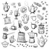 En samling av skissar på temat av kaffe tecknad hand Arkivbild