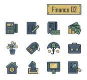 En samling av stilfulla moderna plana symboler med tjocka mörkeröversikter för finans, bankrörelsen och redovisning För rengöring Royaltyfri Bild