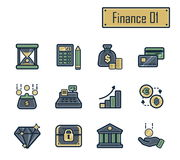 En samling av stilfulla moderna plana symboler med tjocka mörkeröversikter för finans, bankrörelsen och redovisning För rengöring Royaltyfria Foton