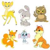 En samling av teckenskogdjur Tecknad filmtecken är hjortar, oavbrutet tjata, gömma sig, musen, räven, uggla Royaltyfria Bilder