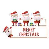 En samling av tecknade filmen Santa Clauses på en vit bakgrund Vec Royaltyfria Foton