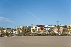 En sandig strand i Valencia Arkivfoto