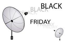 En satellit- maträtt som överför ett Black Friday tecken Royaltyfri Bild