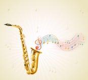 En saxofon med musikaliska anmärkningar stock illustrationer