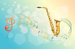 En saxofon och de musikaliska symbolerna royaltyfri illustrationer