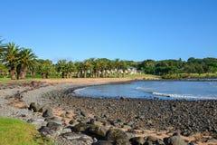 En scenisk sikt av den Waitangi stranden på den Copthorne semesterorten nära Paihia Arkivfoton