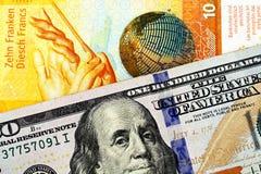 En schweizisk francsedel med en amerikansk hundra dollarräkning royaltyfri fotografi